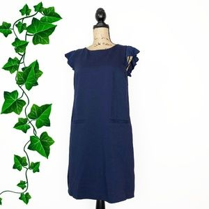 {Boden} Navy Ruffle Sleeve Shift Dress w/ Pockets